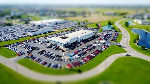 aerial photo of a car dealership